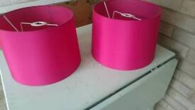 Red/Pink lampshades x 2