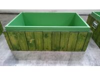3x Large wooden crates *green stained wood with handles