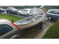12 foot fibreglass boat and trailer ready for water