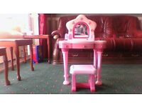 GIRLS DRESSING TABLE AND STOOL PINK