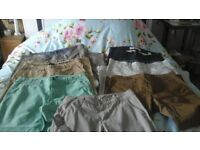 7 pairs casualtrousers size 34waist. 30 legth. Assorted colours.