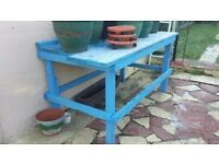 Wood BLUE Work Bench 3 X 7 FT Table Workshop Carpenters Woodworking Garden