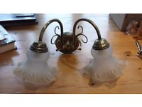 Antique Brass Style Wall Lights (2 x Doubles, 2 x Singles)