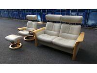 Ekornes Stressless Cream Leather Reclining Sofa & Armchair+stool Suite Set