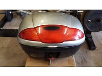 Large top box for motorcycle with key fully lockable silver,