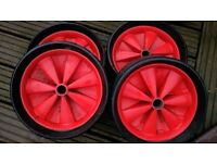Trolley wheels, 4 wide tread solid rubber wheels 260mm diameter