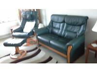 LEATHER 2 SEATER SETTEE PLUS 2 RECINING CHAIRS WITH FOOT STOOLS. EXCELLENT CONDITION. A BARGAIN