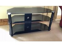 Black glass 3-tier TV stand, tempered safety glass, excellent condition, fits in corner