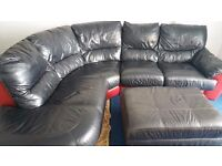 large 5 seater leather curved corner sofa.
