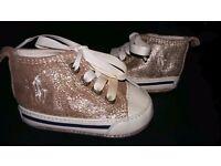 Girls Gold Ralph Lauren Shoes Size 1