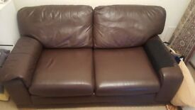 Leather brown sofa in very good condition negotiable offers welcome