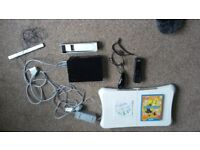 Nintendo Wii console+1 Controller+1Nunchuk+Wii fit board + Sensor Bar + Scart cable +2 Games