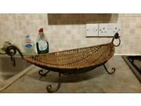 Wicker basket fruit bowl ornament