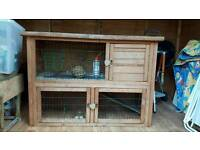 Two floor guinea pig/ rabbit hutch with accessories
