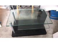 Large Glass & Dark Wood TV Stand