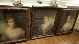 set of 3 large 19th century portraits by listed artist in original frames