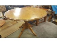 Solid Pine Pedestal Dining Table