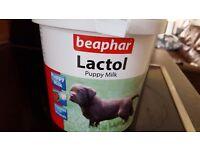 Lactol puppy milk and feeding bottle