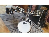 Childrens black performance percussion drum kit