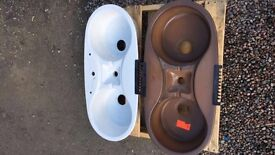 Vintage Velleroy and Boch single and double ceramic basin