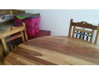 Dining Table and 4 Chairs Jali Solid Wood