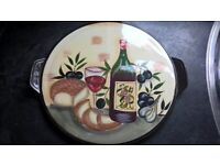 Mediterranean table set - Olive Oil Bottle - Bowl - Pizza Plate - Jug