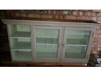 Kitchen wall glass cabinet - 1940s quality built solid wooden unit - £15