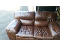 DFS 2 Seater Conker Leather Sofa