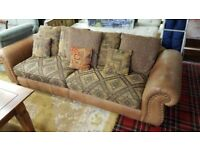 Beautiful 2 & Half Seat Soft Distressed Leather / Tapestry Sofa