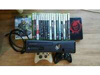 Xbox 360 Slim 250gb + 2 controllers + 18 games