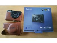 Mint CANON PowerShot S100 12.1MP Digital Camera Black LEATHER COVER + 2 Batteries