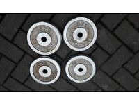 YORK 4 x 5KG CHROME WEIGHT PLATES - 1 inch holes