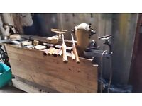 Myford lathe bench mounted with selection of wood turning chisels