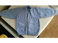 Boys blue hand knitted cardigan. Used. Dawlish. Devon