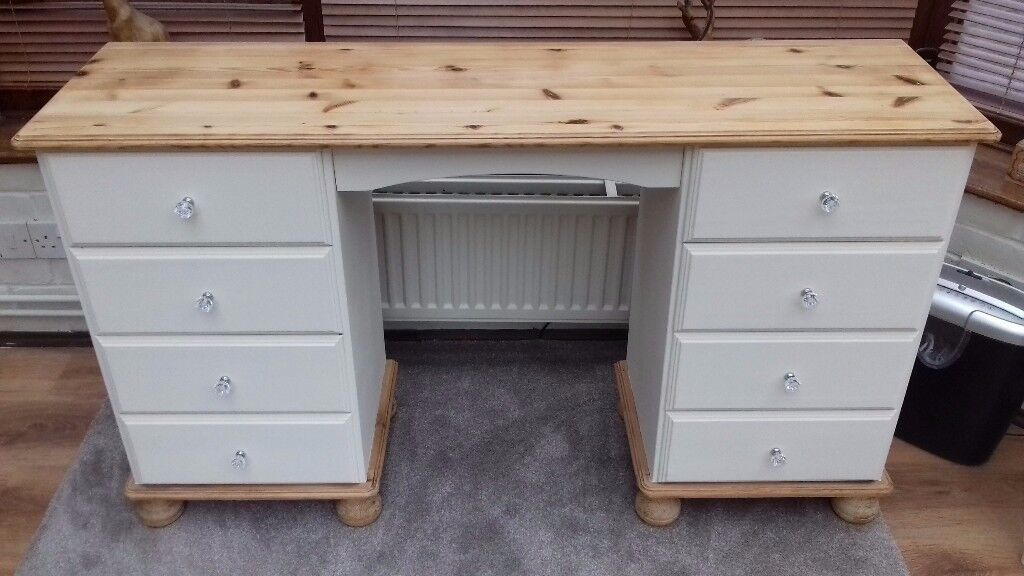 Upcycled pine shabby chic dressing table and chair