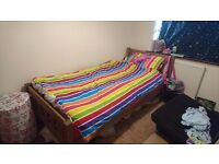 3ft single wooden bed frame and mattress if needed prices in description