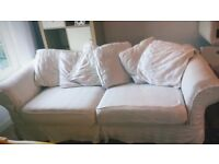 2 x white 3 seater sofas for sale good condition