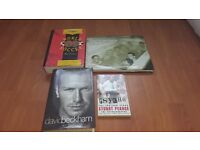 Collection of football books including David Beckham and Stuart Pearce.