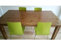 Stained pine dining table, large, 180cmx100cm