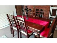 Solid wood country style table and 5 chairs