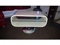dwell White Oval Compact TV unit and White 2 piece Nest of Tables For Sale