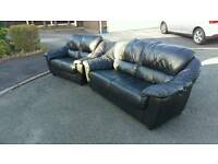 Black leather 3&2 seater sofa (free delivery)