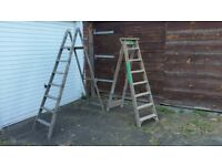 Vintage wooden ladders x 2 - very good condtion