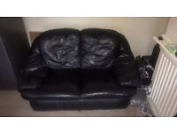 SMALL BLACK 2 SEAT LEATHER SOFA - FREE TO COLLECT