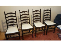 4x Vintage Edwardian style ladderback dining chairs