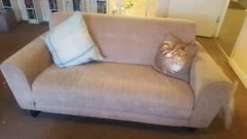 2 x grey 3 seater fabric sofas