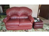 £150 ONO COLLECT 1st WK OCT: leather sofas (3 seater recliner + 2 seater (x2) + footstool)