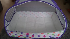 Lightweight baby travel cot with fly nets - ideal for camping