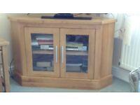 Solid light oak corner TV stand