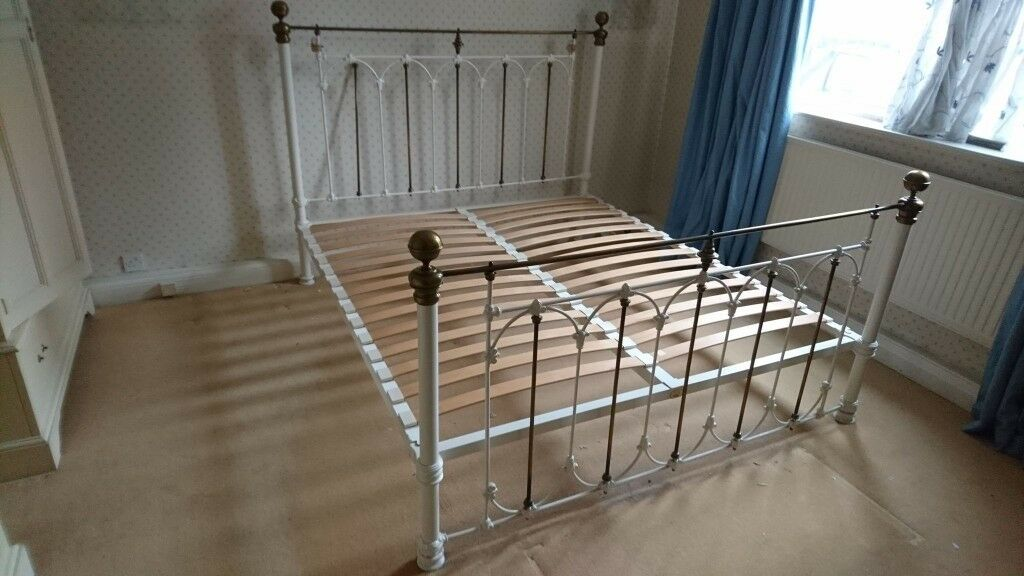 Laura Ashley Super King Size Metal Bed Frame In Ivory White Cream Brass Shabby Chic Antique